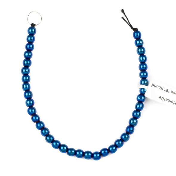 Hematite 6mm Electroplated Blue Round Beads - 8 inch strand
