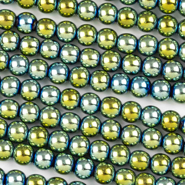 Hematite 6mm Electroplated Green Round Beads - approx. 8 inch strand