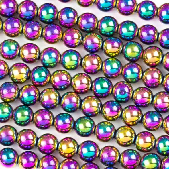 Hematite 6mm Electroplated Purple Rainbow Round Beads - 8 inch strand