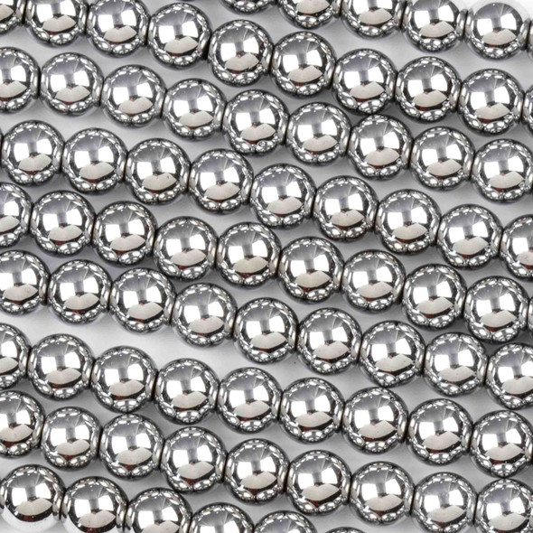 Hematite 6mm Plated Silver Round Beads - 8 inch strand