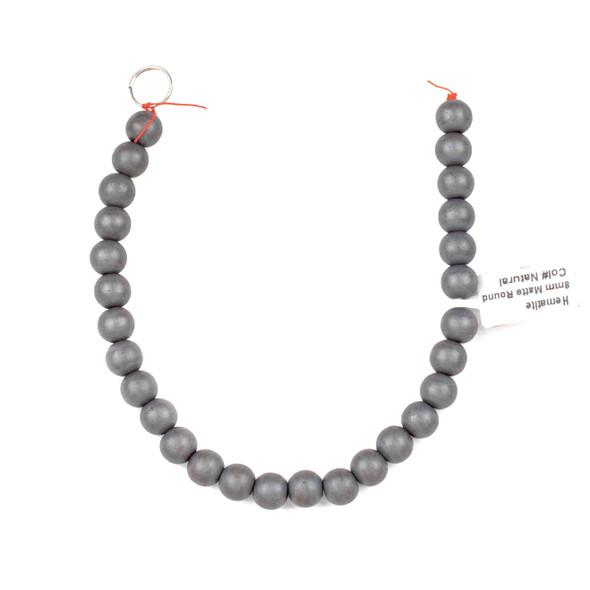 Hematite 8mm Matte Round Beads - 8 inch strand