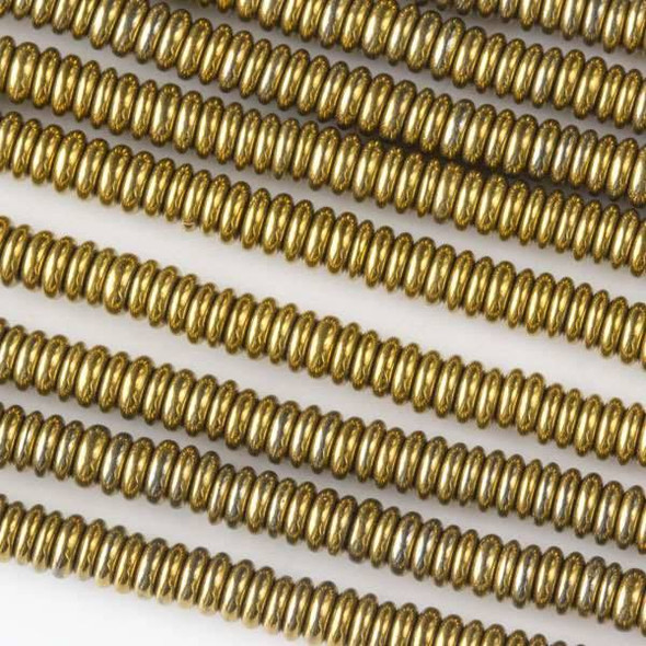 Hematite 1x3mm Electroplated Gold Rondelle - 8 inch strand