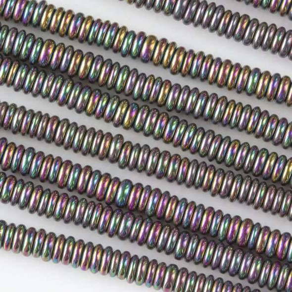 Hematite 1x3mm Electroplated Purple Rainbow Rondelle - approx. 8 inch strand
