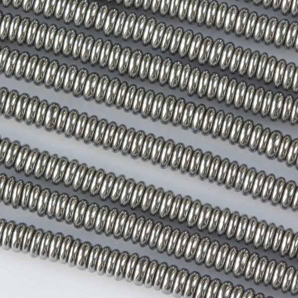 Hematite 1x3mm Plated Silver Rondelle - 8 inch strand