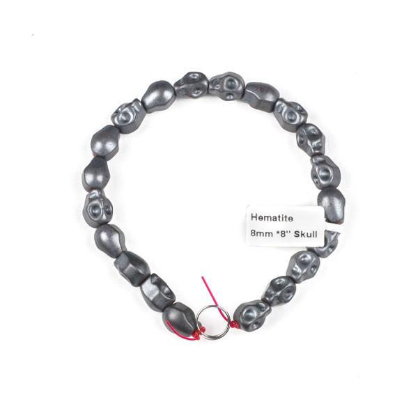 Hematite 8x10mm Matte Skull Beads - 8 inch strand