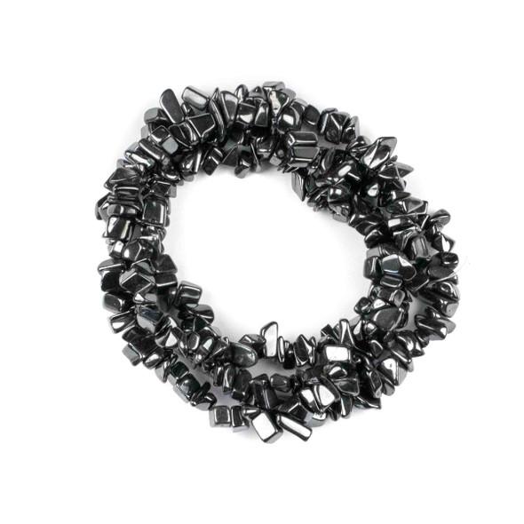 """Hematite 5-8mm Chip Beads - 34"""" circular strand"""