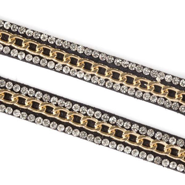 Gold Chain and Crystals on Black Microsuede Cord - 9mm Flat, 3 yards #HF003