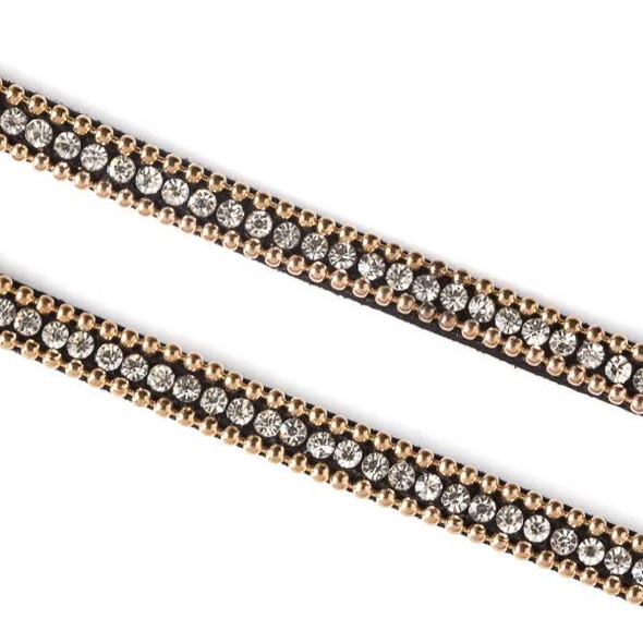 Gold Ball Chain and Round Crystal on Black Microsuede Cord - 5mm Flat, 3 yards #HF007