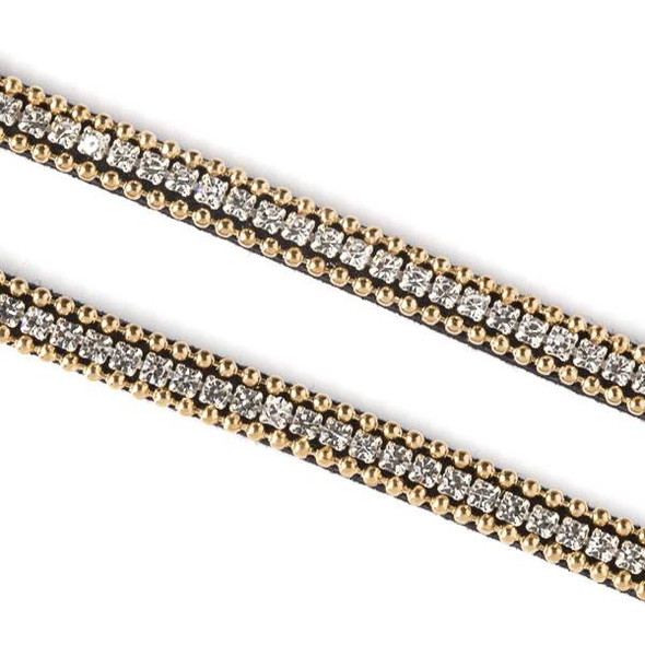 Gold Ball Chain and Square Crystal on Black Microsuede Cord - 5mm Flat, 3 yards #HF009