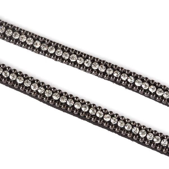 Gun Metal Ball Chain and Round Crystal on Black Microsuede Cord - 5mm Flat, 3 yards #HF012