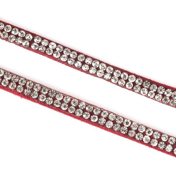 2 Rows of Crystals on Red Microsuede Cord - 5mm Flat, 3 yards #HF013