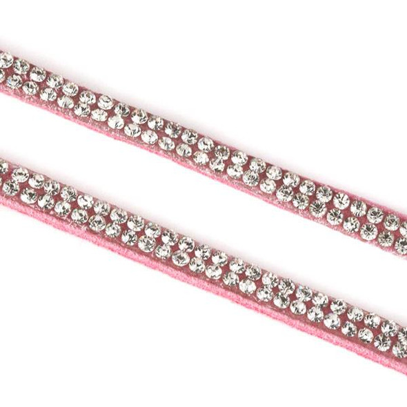 2 Rows of Crystals on Pink Microsuede Cord - 5mm Flat, 3 yards #HF014