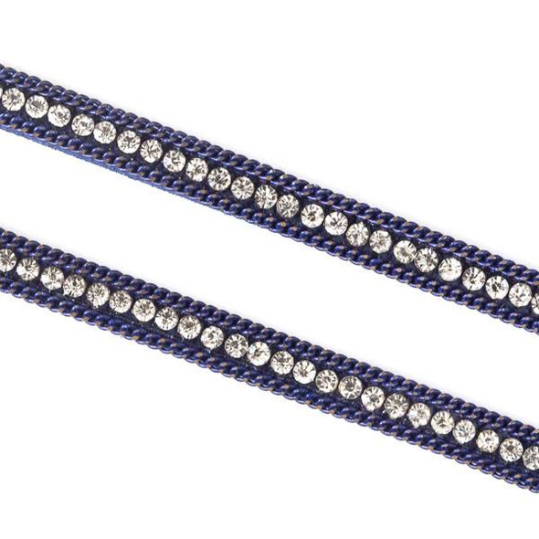 Navy Blue Chain and Crystal on Microsuede Cord - 5mm Flat, 3 yards #HF016