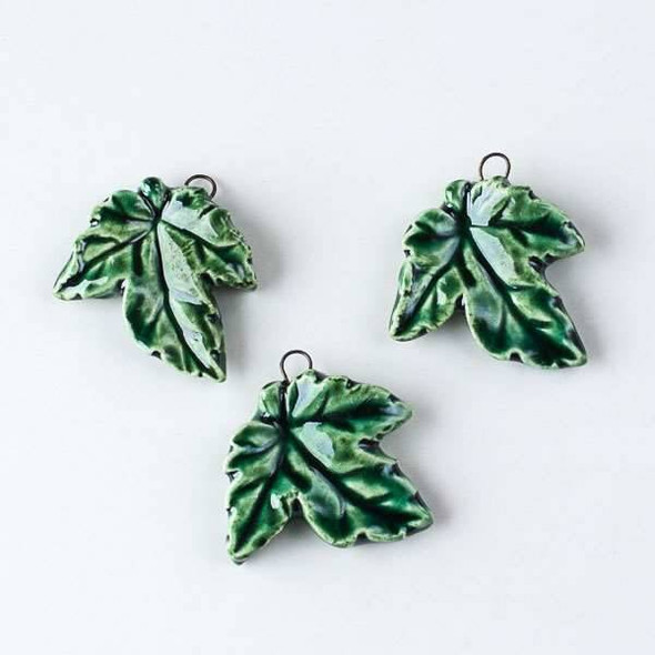Handmade Ceramic 28x30mm Maple Leaf Pendant in an Emerald Green Glaze