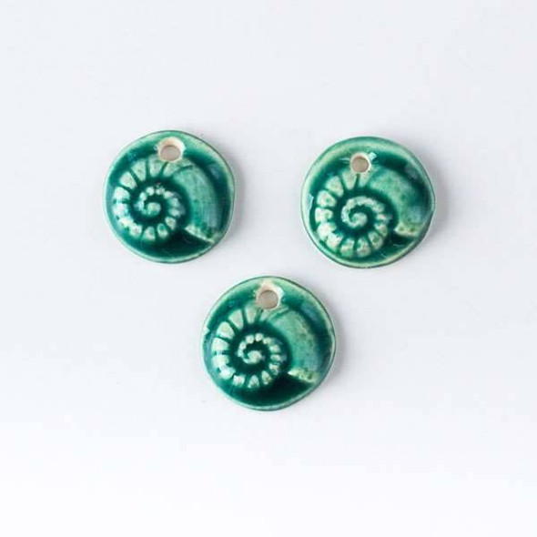 Handmade Ceramic 19mm Mini Nautilus Coin Pendant with a Leaf Green Glaze