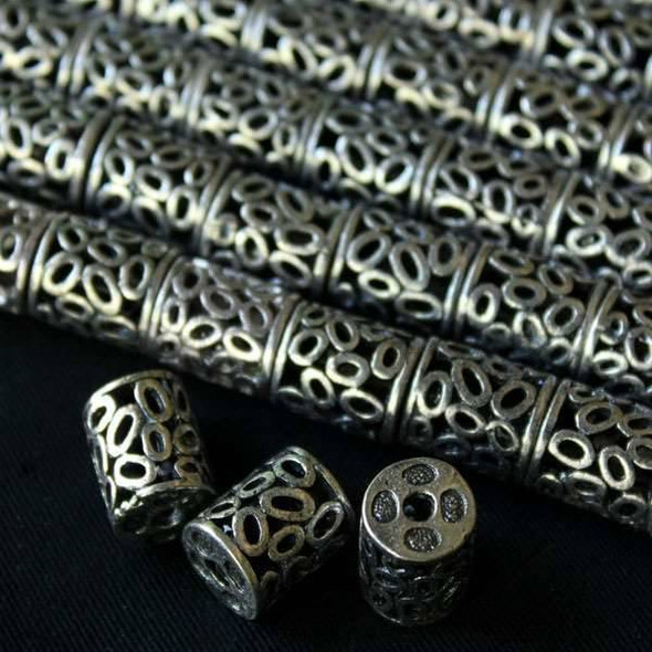 Silver Pewter Hollow 10x13mm Barrel with Ovals - a10223s