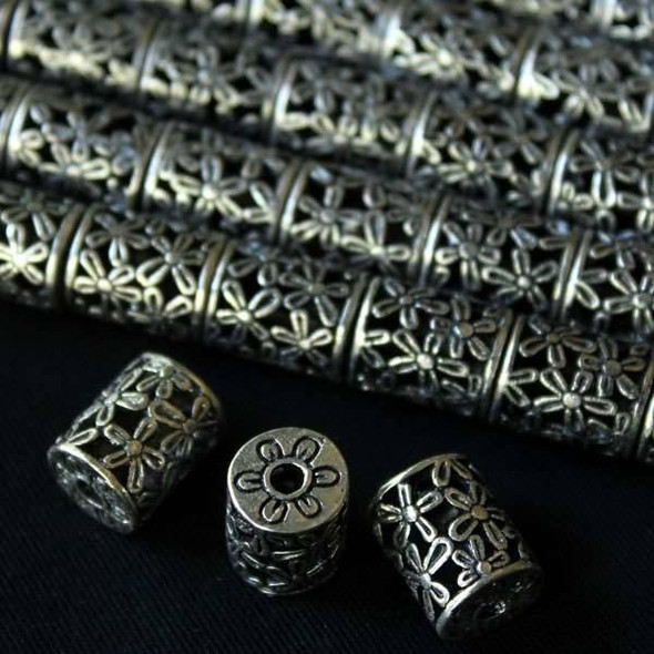 Silver Pewter Hollow 10x13mm Barrel with Flowers - a10252s