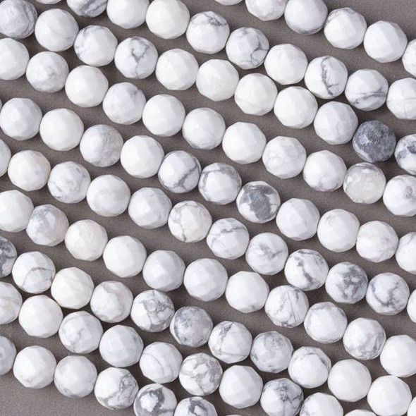 White Howlite 6mm Faceted Round Beads - 16 inch strand