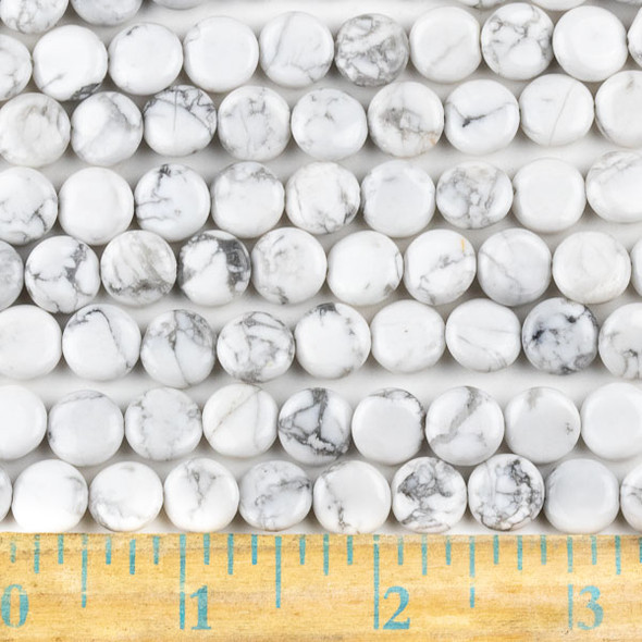 Howlite 10mm Coin Beads - approx. 8 inch strand, Set A