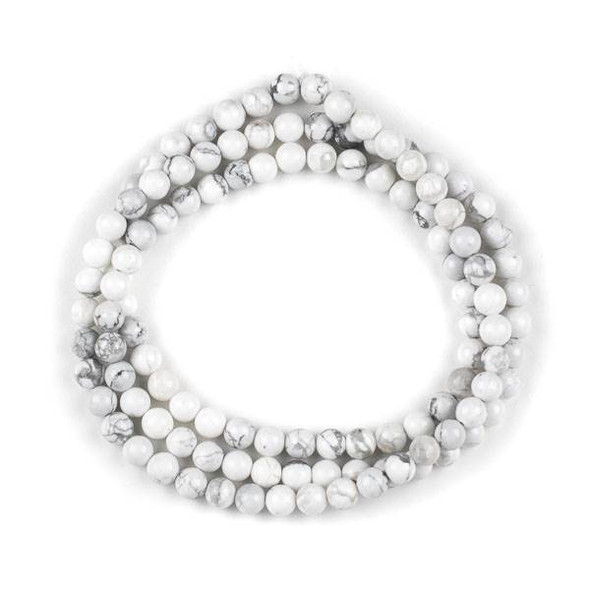 Howlite 6mm Mala Round Beads - 29 inch strand
