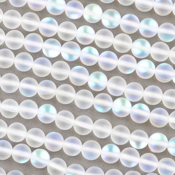 Imitation Glass Moonstone 6mm Matte Clear White Round Beads - 15 inch strand