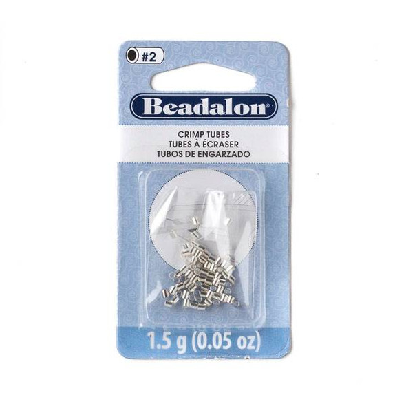 Silver Plated 1.8mm Crimp Tubes - 1.5 grams - JFCT2S-1.5Gsil
