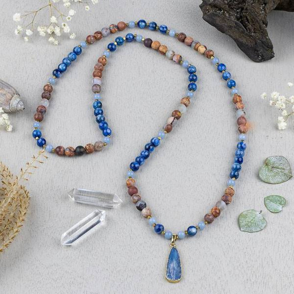 Kyanite Mala Style Elastic Necklace Kit