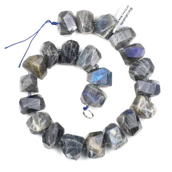 Labradorite 14-20x20-25mm Faceted Nugget Beads - 15 inch strand