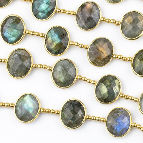 Labradorite 11x13mm Horizontally Drilled Faceted Oval Beads with Gold Plated Bezel - 8 inch strand with spacer beads