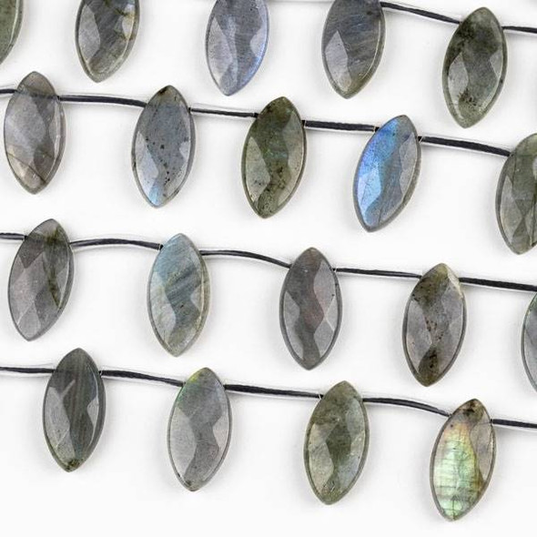 Blue Labradorite 10x20mm Faceted Top Drilled Marquis Beads - 15 inch strand