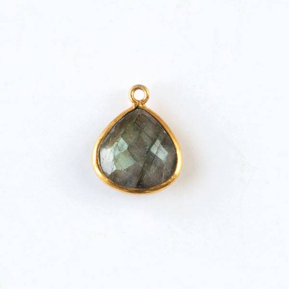 Labradorite approximately 13x17mm Faceted Small Almond Teardrop Drop with Gold Plated Brass Bezel