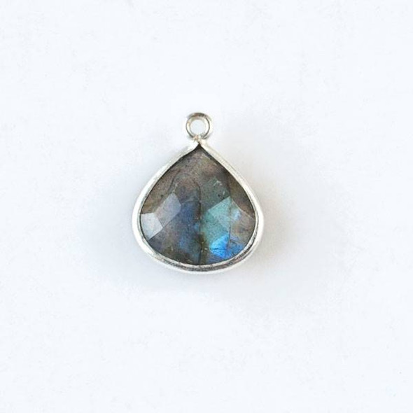 Labradorite approximately 13x17mm Faceted Small Almond Teardrop Drop with Silver Plated Brass Bezel