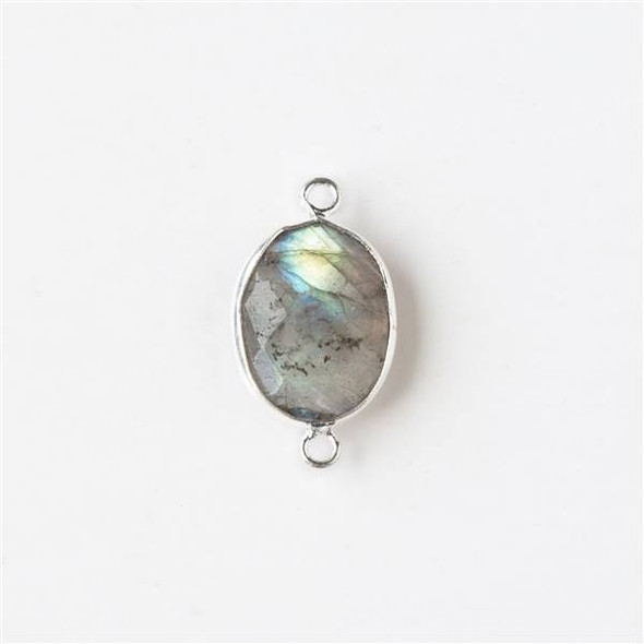 Labradorite 11x19mm Oval Link with a Silver Plated Brass Bezel