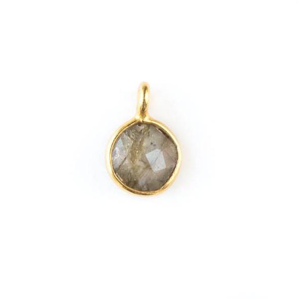 Labradorite 7x10mm Coin Drop with a Gold Plated Brass Bezel