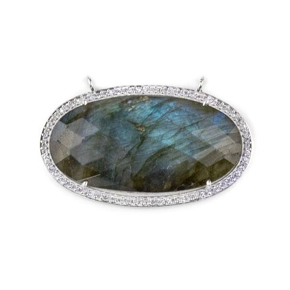 Labradorite 25x44mm Faceted Oval Pendant Drop with Silver Plated Brass Bezel and Cubic Zirconias - 1 per bag