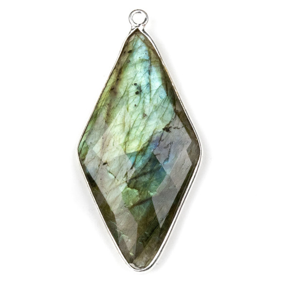 Labradorite approximately 21x44mm Diamond Drop with a Silver Plated Brass Bezel - 1 per bag