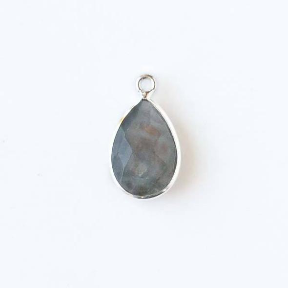 Labradorite approximately 11x19mm Teardrop Drop with a Silver Plated Brass Bezel