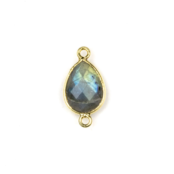 Labradorite approximately 11x22mm Teardrop Link with a Gold Plated Brass Bezel - 1 per bag