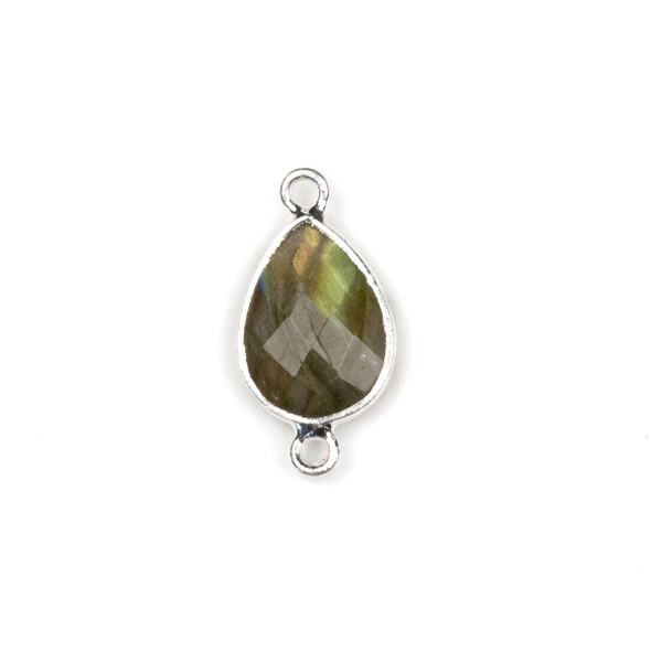 Labradorite approximately 11x22mm Teardrop Link with a Silver Plated Brass Bezel - 1 per bag
