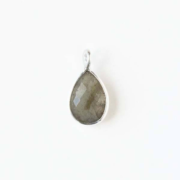Labradorite approximately 8x14mm Teardrop Drop with a Silver Plated Brass Bezel