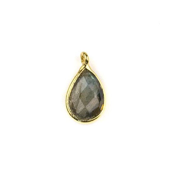 Labradorite approximately 8x14mm Teardrop Drop with a Gold Plated Brass Bezel