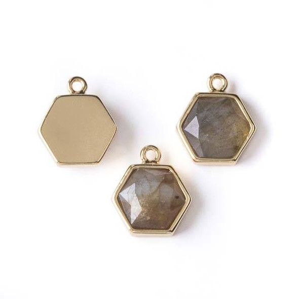 Labradorite 13x15mm Hexagon Drop Pendant with Gold Bezel - 1 per bag