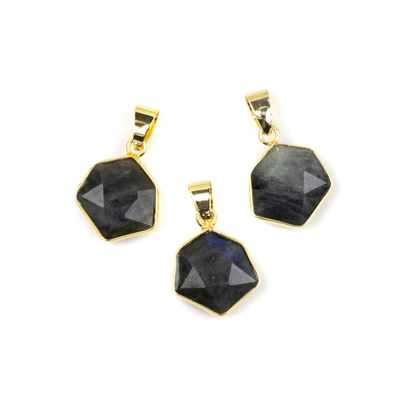 Labradorite 15x24mm Faceted Irregular Hexagon Pendant with Gold Plated Bezel and Bail - 1 per bag