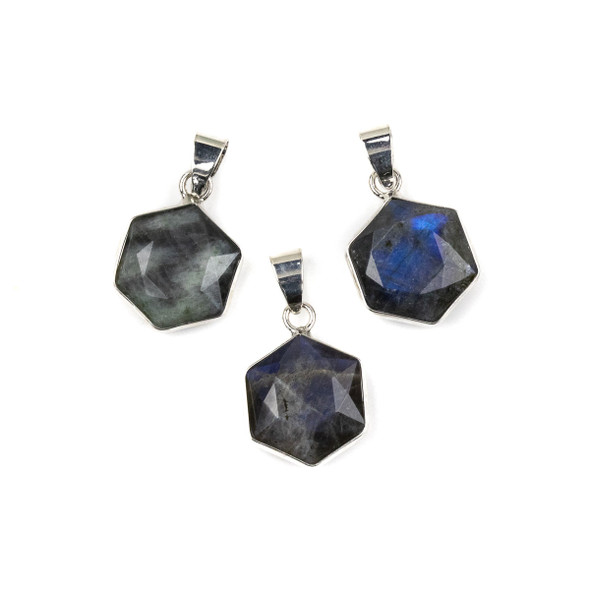 Labradorite 15x24mm Faceted Irregular Hexagon Pendant with Silver Plated Bezel and Bail - 1 per bag