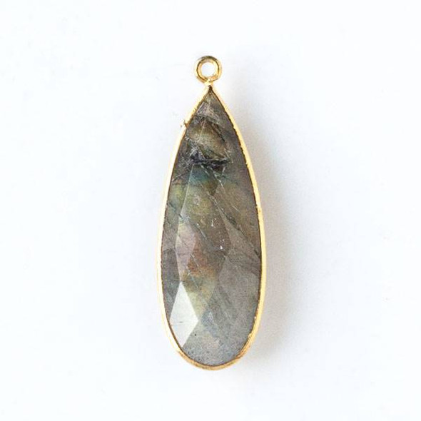 Labradorite approximately 11x35mm Long Teardrop Drop with a Gold Plated Brass Bezel