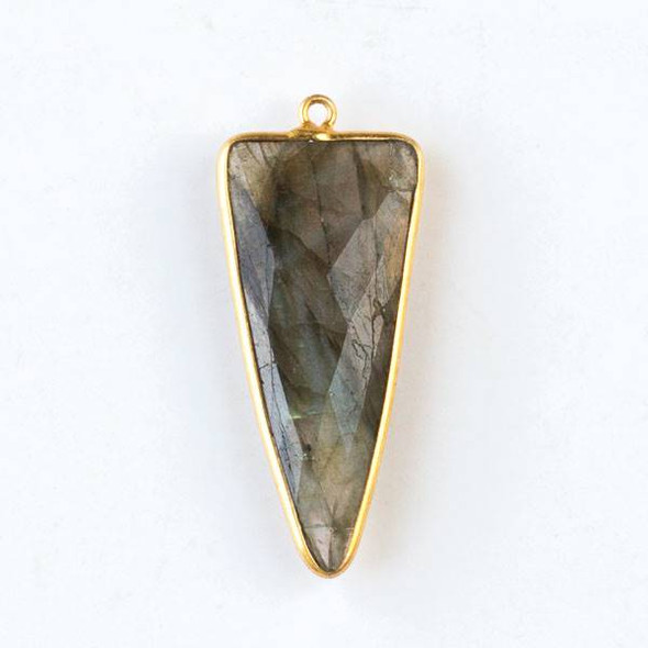 Labradorite 16x40mm Faceted Long Triangle Drop with a Gold Plated Brass Bezel