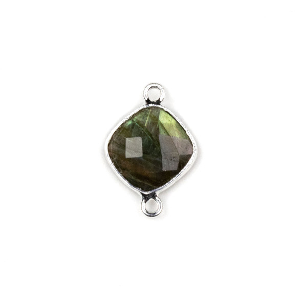 Labradorite approximately 14x21mm Rounded Diamond Link with a Silver Plated Brass Bezel - 1 per bag