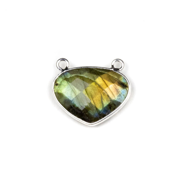 Labradorite approximately 18x21mm Rounded Triangle Drop Pendant with a Silver Plated Brass Bezel - 1 per bag