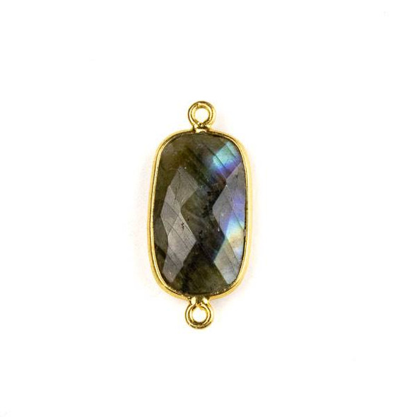 Labradorite 11x26mm Faceted Rounded Rectangle Link with a Gold Plated Brass Bezel