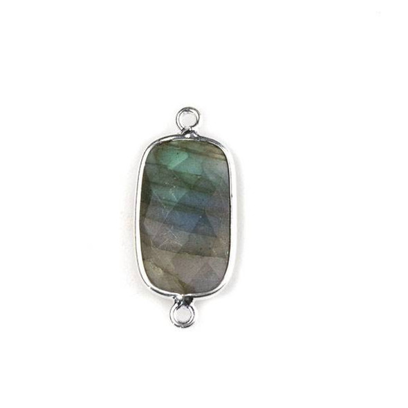 Labradorite 11x26mm Faceted Rounded Rectangle Link with a Silver Plated Brass Bezel